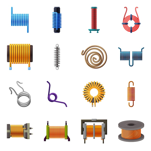 Metal coil cartoon elements. set elements coil for electric equipment. isolated illustration spiral detail. Premium Vector