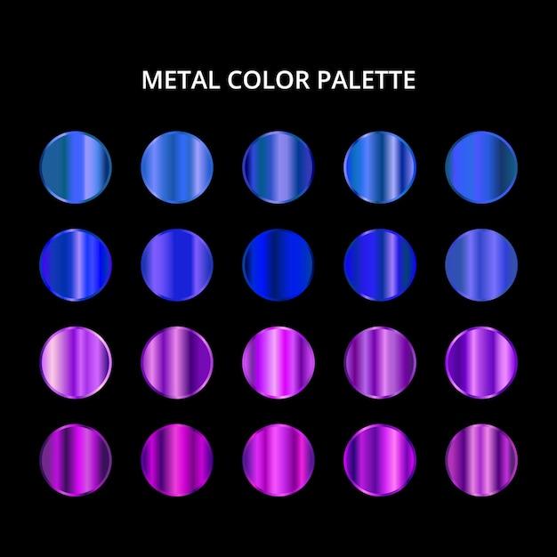 メタルカラーパレット。ブルーパープルスチールテクスチャ Premiumベクター