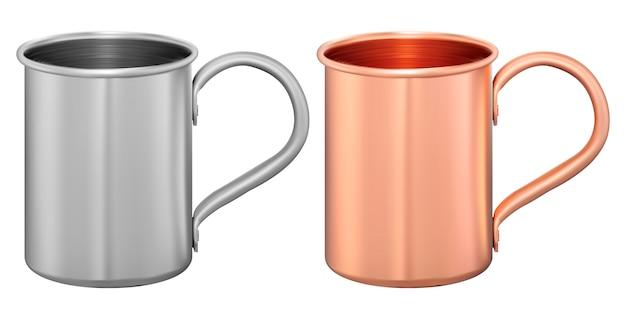 Metal cup set. aluminum or steel tourist mug. tea Premium Vector