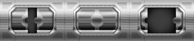 Металлическая дверь, откатные ворота в интерьере коридора космического корабля. Бесплатные векторы
