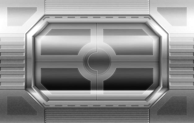 金属製のドア、宇宙船の廊下のスライディングゲート 無料ベクター