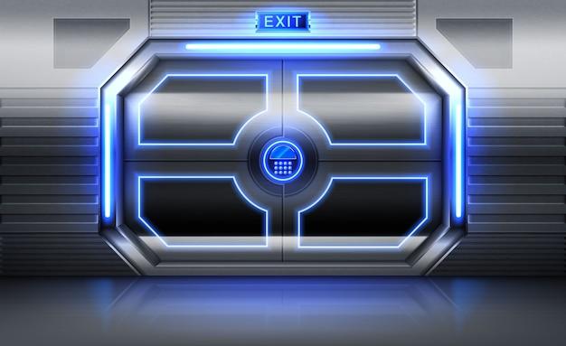 Металлическая дверь со знаком выхода, неоновым светом и панелью с кнопками для ввода пароля Бесплатные векторы