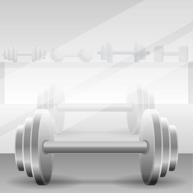 Metal dumbbell concept gym background, cartoon style Vector