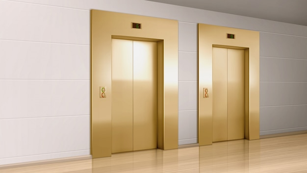 현대 사무실 복도에서 금속 엘리베이터 문 무료 벡터