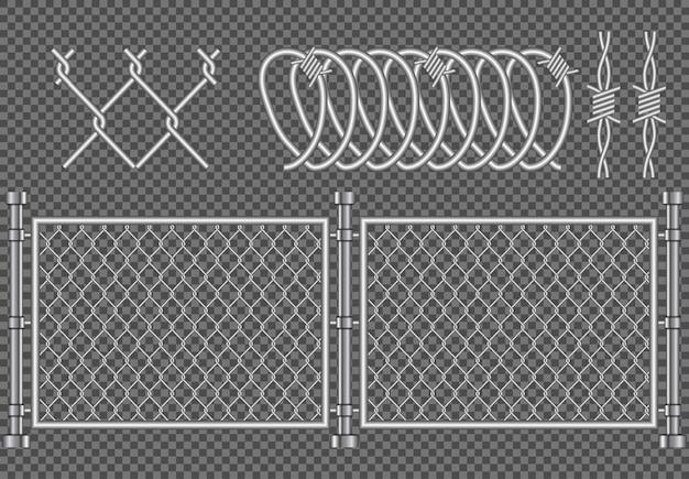 Металлический забор колючей проволоки реалистичные, иллюстрация защиты безопасности фон, предупреждение преступности армии графический шаблон границы изолированные бесшовные Premium векторы