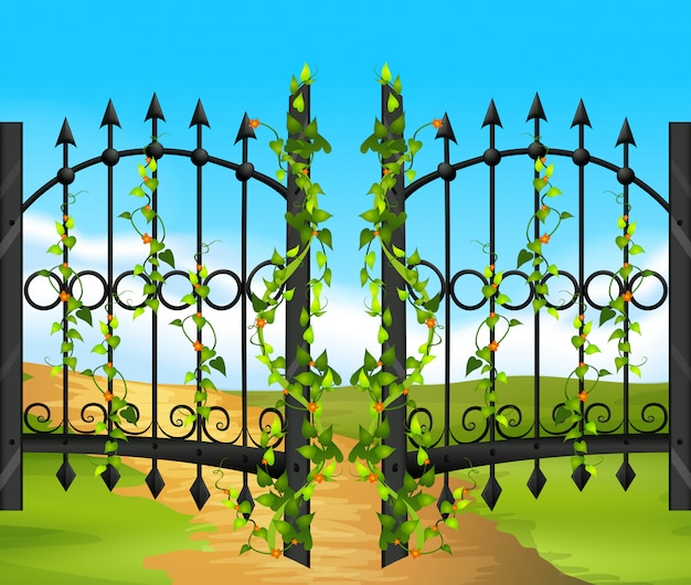 Metal fence witn vine and flowers Free Vector