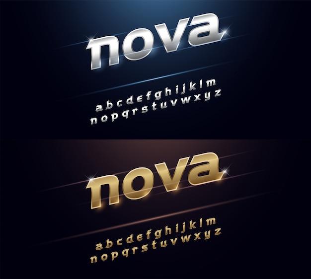 Metal fontエレガントなシルバーとゴールデンクロームのアルファベット Premiumベクター