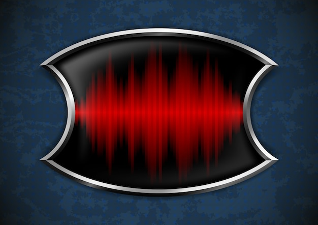 Metal frame with sound wave Premium Vector