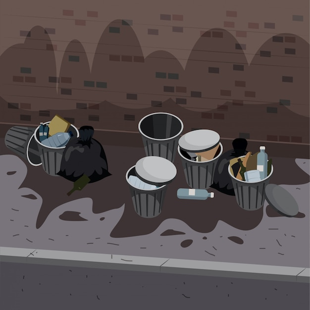 Metal garbage containers with unsorted trash disposed on the street exterior Premium Vector