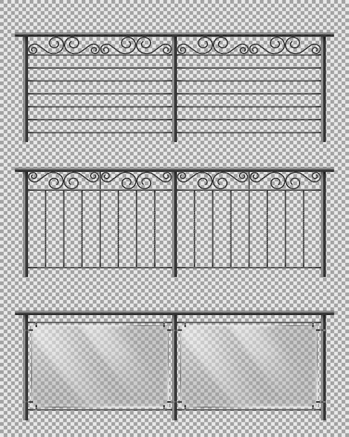 Metal and glass handrails realistic vector set Free Vector