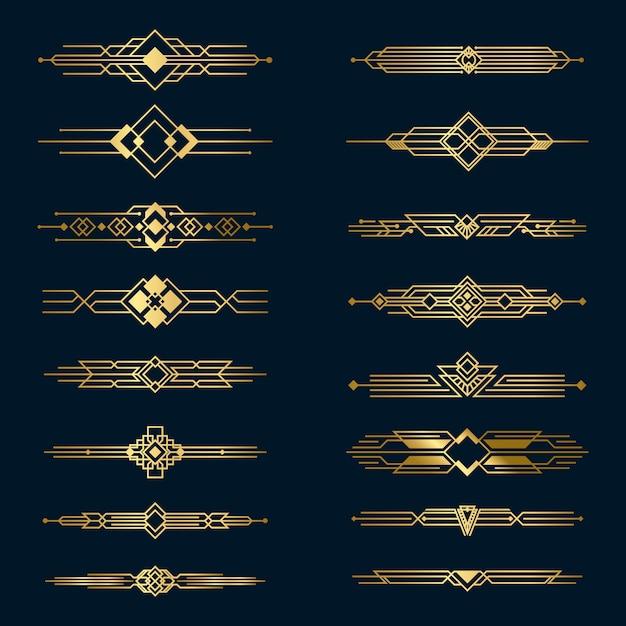 Набор металлических золотых разделителей Бесплатные векторы