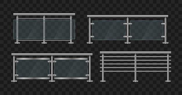 金属製の手すり。鉄の手すりの正面と角度のビューとガラスの欄干。ガラス柵のセクション Premiumベクター