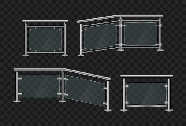 金属製の手すり。鉄の手すりの正面と角度のビューとガラスの欄干 Premiumベクター