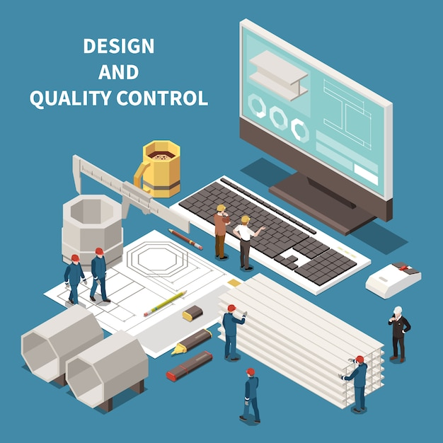 Metal industry control equipment and foundry workers isometric composition 3d vector illustration Free Vector