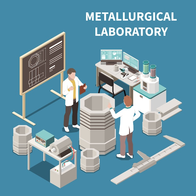 Metal industry isometric composition with two people in metallurgical laboratory 3d vector illustration Free Vector