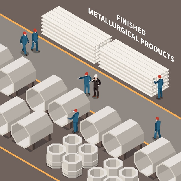 Metal industry isometric composition with workers and metallurgical products 3d vector illustration Free Vector