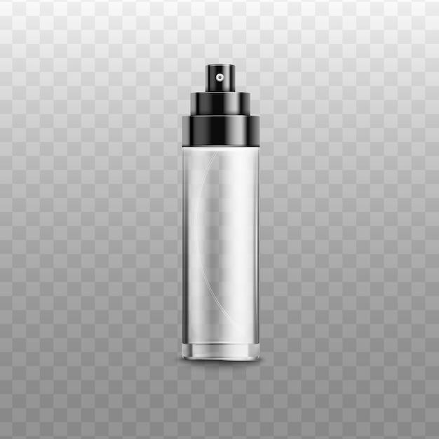 金属または光沢のあるプラスチック製のオープンボトルスプレー香水、消臭剤や芳香剤、透明な背景のリアルなイラスト。化粧品パッケージ。 Premiumベクター