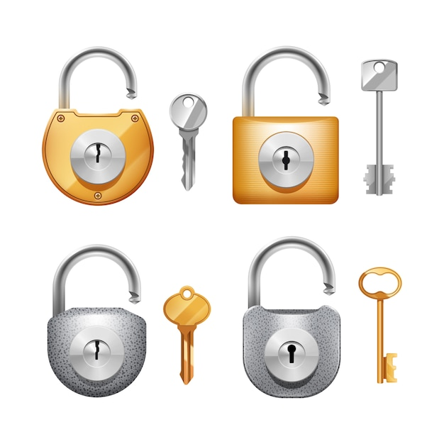 Metal padlocks and keys in different shapes realistic set Free Vector