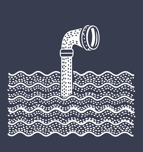 水の上の金属製のペリスコープ。白い背景の上 Premiumベクター