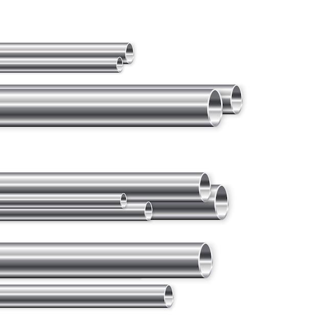 Производство металлических труб. группа новых железных труб Premium векторы