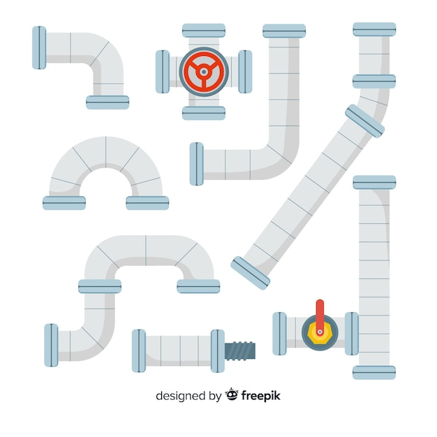 Metal pipeline collection with gauge in flat design Free Vector
