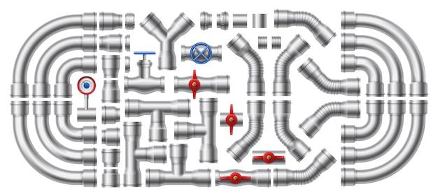 Металлический трубопровод. набор иллюстраций стальных труб, соединителей труб и промышленной арматуры. Premium векторы