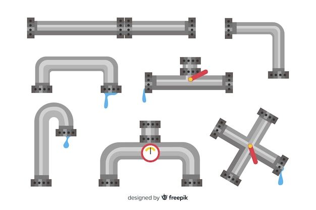 Metal pipes collection with water in flat design Free Vector