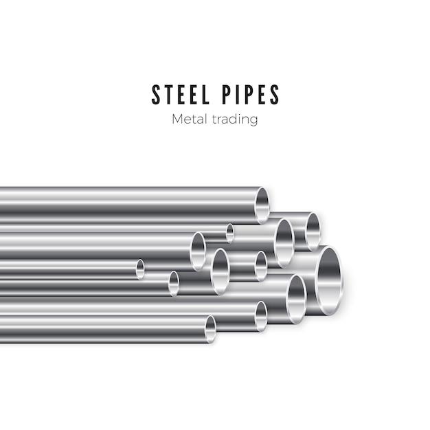 Стек металлических труб Premium векторы