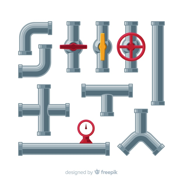 Metal pipes with valves set in flat design Free Vector