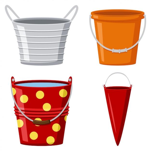 Metal and plastic buckets Premium Vector