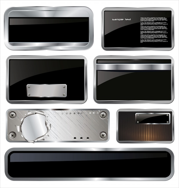 Metal plates set Premium Vector