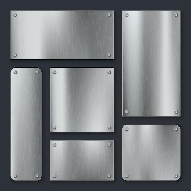 금속판. 강철 플레이트, 나사가있는 스테인리스 패널 크롬 태그. 산업 기술 금속 빈 현실적인 템플릿 세트 프리미엄 벡터