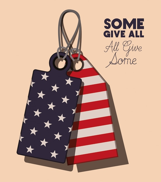 Metal plates with usa flag of memorial day Premium Vector