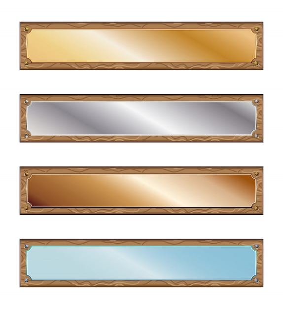 Metal plates with wood frames Premium Vector