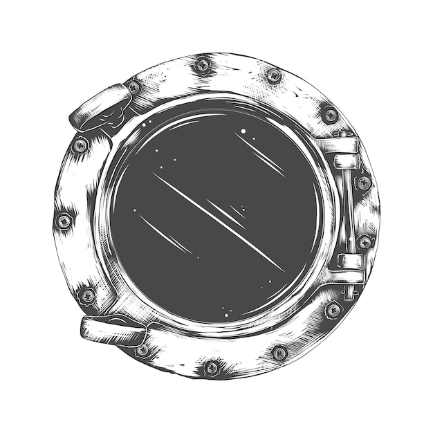 Of metal porthole with glass isolated . rivets mount Premium Vector