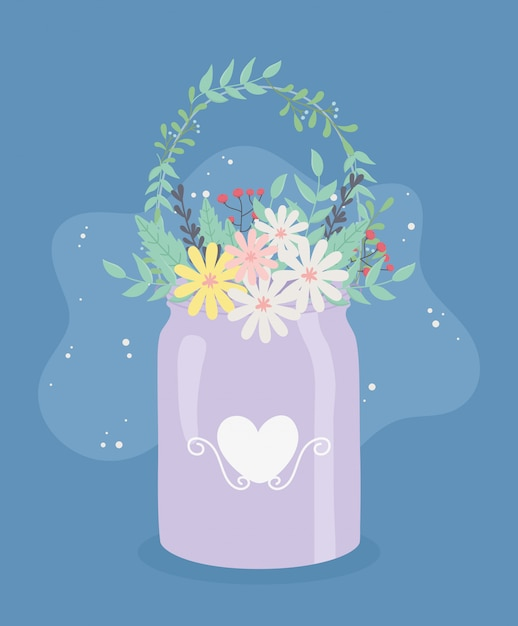 Metal pot hanger with flowers and leafs decoration Premium Vector