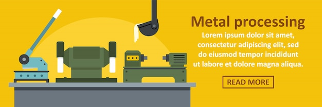 Metal processing factory banner template horizontal concept Premium Vector