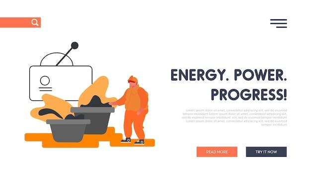Metal production plant website landing page. Premium Vector