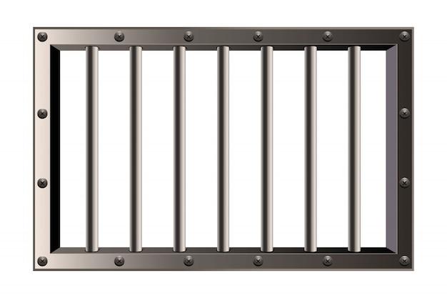 Metal realistic detailed prison bars window. Premium Vector