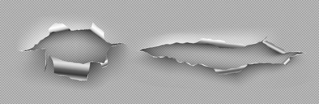 巻き毛のエッジのある金属の裂け目、不規則な亀裂、鋼板の損傷のカット。 無料ベクター