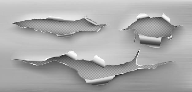 둥근 모서리, 거친 균열이있는 금속 립 홀 무료 벡터
