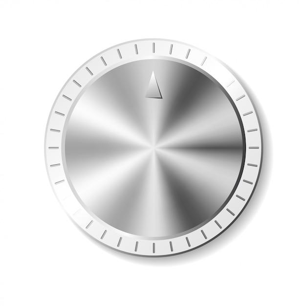 Metal round button Premium Vector