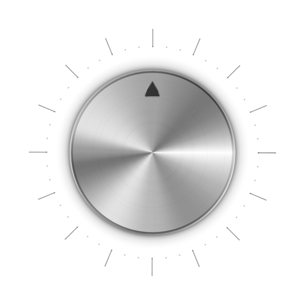 Metal round knob with mark and scale divisions on white Premium Vector