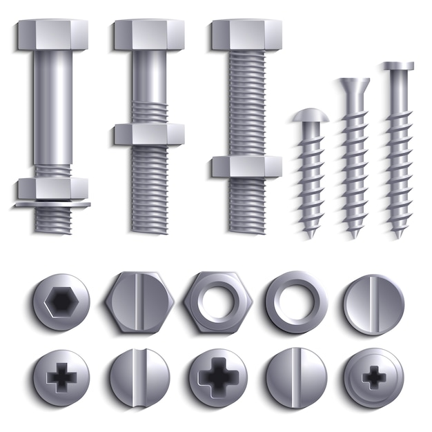 Metal screws, steel bolts, nuts, nails and rivets isolated on white vector set Premium Vector