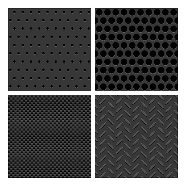 Metal seamless pattern set Free Vector