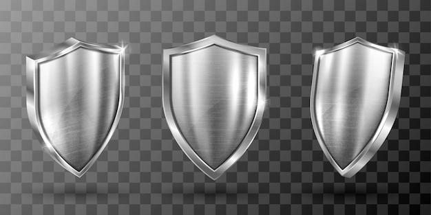Scudo metallico con telaio in acciaio realistico Vettore gratuito