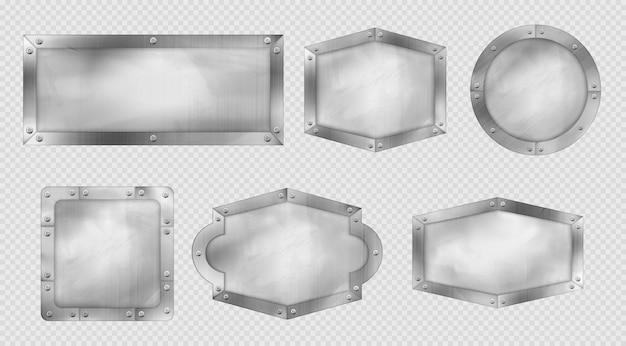 Metal signs, steel or silver plates with rivets and frames. Free Vector