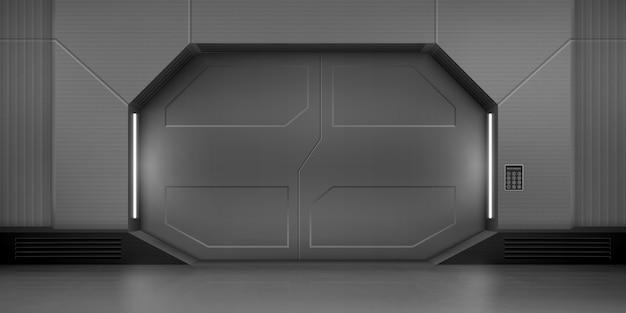 Metal sliding doors in spaceship Free Vector