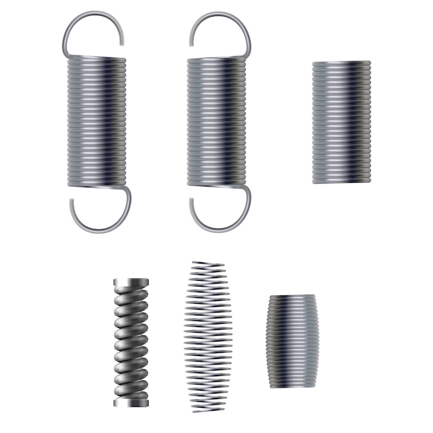 Metal spring isolated on white background Premium Vector