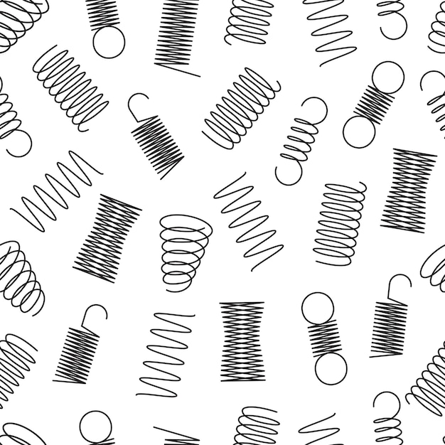 Metal springs seamless pattern Premium Vector